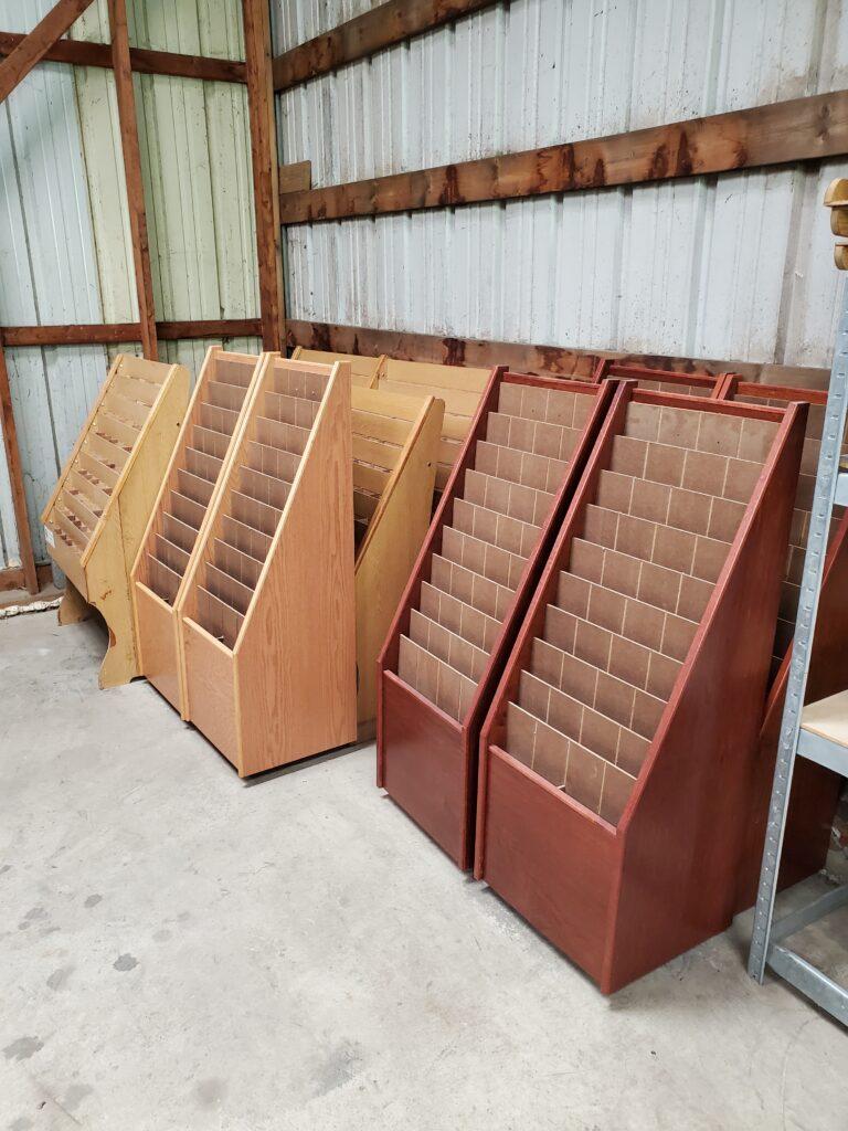 Brochure Racks in warehouse