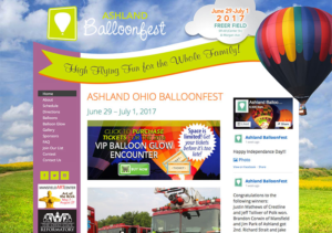 Ashland BalloonFest Website - Ohio Web Design